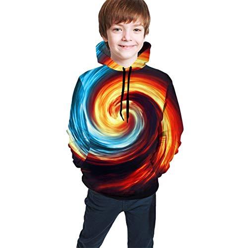 Fire and Water Yin Yang Kids/Teen Girls' Boys' Hoodies,3D Print Pullover Sweatshirts