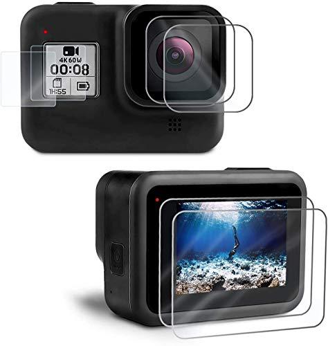 Kupton Displayschutzfolie für GoPro Hero 8, Hartglas Displayschutz+Hartglas Objektivschutzfolie+HD Kleinem Display Schutz Zubehör für Hero 8 Black Action Kamera[6 Stück]