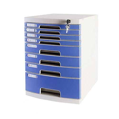 Archivadores Cerradura de Mesa de Escritorio de Oficina cajonera de Datos de periódicos Bastidores-Azul Duradero plásticos Anti-Off Hebilla de plástico PP (29.5X39.4X43CM) Caja de Archivo