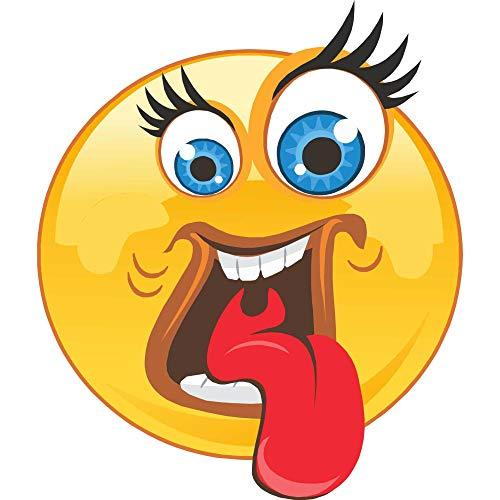 kleberio Aufkleber Emoji Smiley große Augen mit Wimpern Zunge rausstrecken Sticker Auto Motorrad Caravan wetterfest 10 x 10 cm