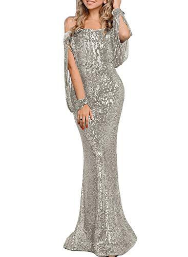 GOSOPIN Women Sequin Tassel Sleeve Off Shoulder Evening Party Dress Medium Silver