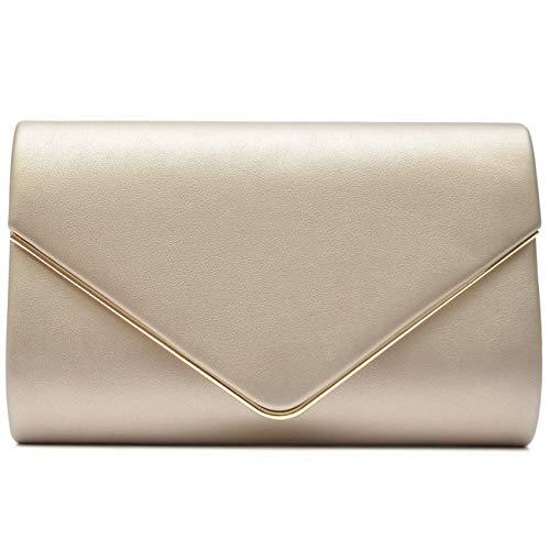 Vain Secrets Damen Umhänge Tasche Clutch Abendtaschen in vielen Farben (22 cm Lang - 13 cm Hoch - 6 cm Breit, Gold PU)