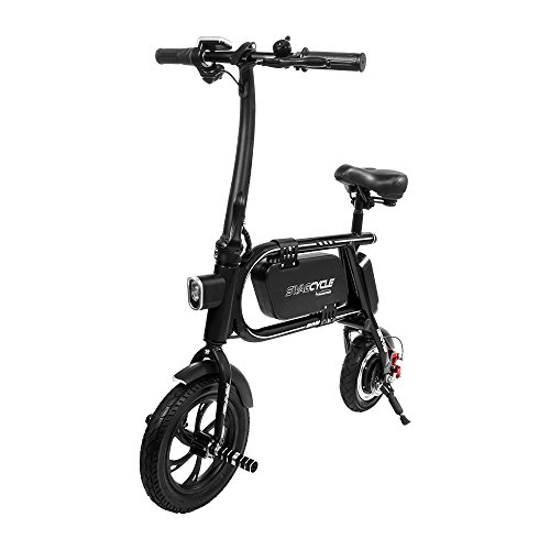 Swagtron 200W SWAGCYCLE Envy Steel Frame Folding Electric Bicycle e Bike w/Automatic Headlight – Reach 10 mph; 264 lbs Max Load -Black