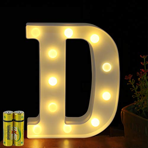 HONPHIER® Buchstaben Lichter Alphabet Lampe LED Brief Beleuchtung Buchstabe Licht Beleuchtete Buchstaben Nachtlichter Dekoration für Geburtstag Party Hochzeit Kinderzimmer (D)