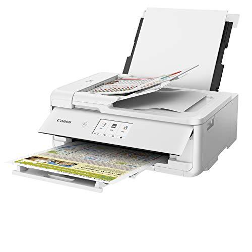 Canon PIXMA TS9551C Tinten-Multifunktionsgerät (Druck bis DIN A3, Drucken, Scannen, Kopieren, 5 Separate Tinten, WLAN, LAN, Print App, 2 Papierzuführungen) Weiss