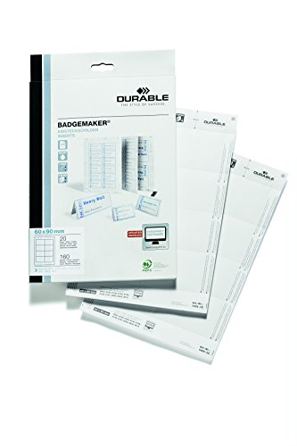 Price comparison product image DURABLE Micro-Perforated Badge Inserts for 8003,  8106,  8135,  8138,  8139,  Print of Write,  160 Cardstock Refills (145602)