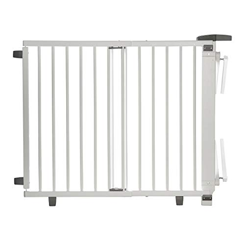 Geuther, Treppenschutzgitter ausziehbar 2735+ für KinderHunde SchraubenKlemmen am Geländer verstellbar Holz TÜV geprüft, weiß, 95 - 35 cm