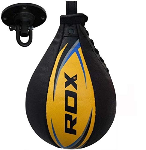 RDX Speedball Boxen Echtleder MMA Muay Thai Training Punching Dodge Schlagsack Kit Hanging Swivel Workout, gelb, Standard