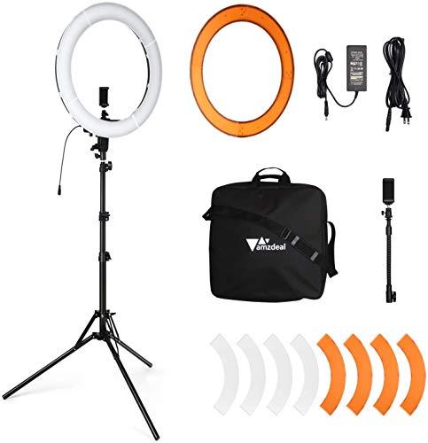 Amzdeal Ringlicht 18 Zoll/48CM,Dimmbare Ringleuchte Kit 260 LED 5000LM 60W mit 180CM Biegbarer Verstellbarer Ständer,Phone Halter,Blitzschuhadapter für Kamera Smartphone Fotografie Makeup YouTube