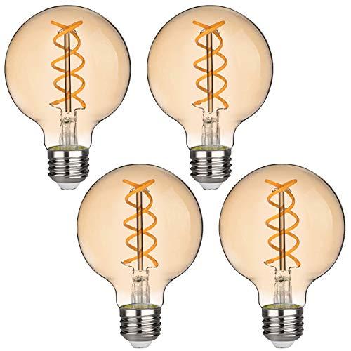 G25(G80) 6W Vintage Globe Edison LED bianco morbido lampadina a filamento a spirale flessibile non dimmerabile 450lm 6W equivalente a 60W base media E27 vetro ambrato (6W-2500K-4pezzi)