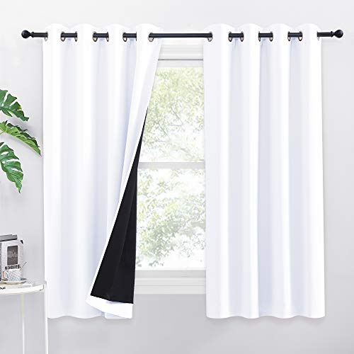 PONY DANCE Vorhang Weiß Blickdicht H 160 x B 132 cm - 2er Set Doppelte-Gardinen mit Ösen 100% Verdunkelungsvorhang Kinderzimmer & Schlafzimmer Ösenvorhang Blickdicht