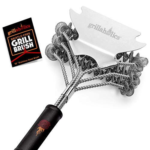 Grillaholics Grill Brush Bristle Free - Safe Grill Cleaning with No Wire Bristles - Professional Heavy Duty Stainless Steel Coils and Scraper - Lifetime Manufacturers Warranty