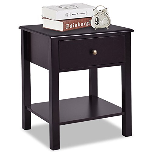 Giantex Nightstand W/Drawer and Shelf, Stable Frame Storage Cabinet for Bedroom, Modern Beside Sofa Accent Table, Brown End Table (1)