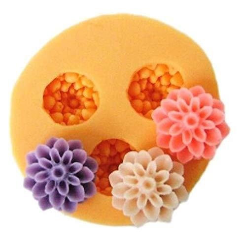 Ndier 3 moldes de silicona para hornear y manualidades, diseño de flores para decoración de tartas, resina de moldeo, fondant, 1,8 cm, objetos del hogar
