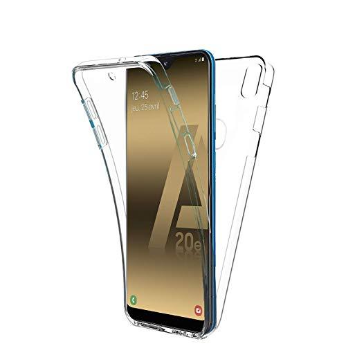 COPHONE - Funda para Samsung Galaxy A20E 100%Transparente 360 Grados Protección Completa Delantera Suave de silicona+ Trasera rígida. Funda táctil 360 Grados antigolpes para Galaxy A20E