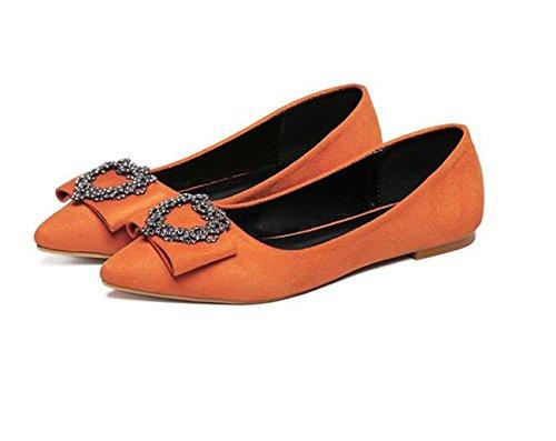 Los nuevos Zapatos del Resorte señalaron los Zapatos Planos con los Zapatos Planos de la Hebilla Cuadrada de Marea Salvaje de Diamantes de la Boca Baja Zapatos del Amor, Orange, 37