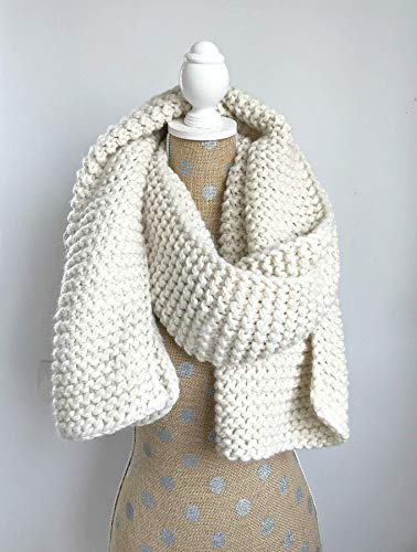 Chunky Knit Super Scarf - Oversized Knitted Long Scarf in Cream