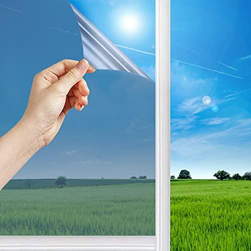 Spiegelfolie Selbstklebend für Fenster Sonnenschutzfolie Fenster für Wärmeisolierung Anti-UV für Fenster Außen und Innen Büro und Haus, Silber (Silber, 60*200cm)