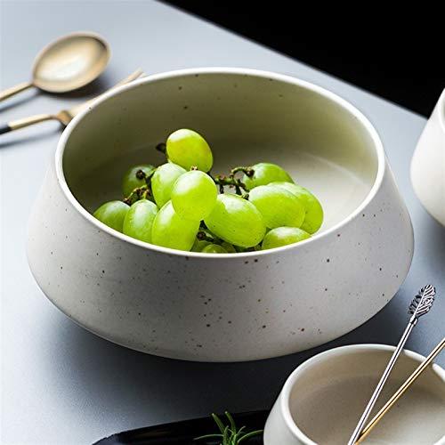 H/A Tazón de cerámica creativa, cuenco de sopa, cuenco grande, ensalada irregular, cuenco alto, vajilla retro, TOM-EU (color: blanco arroz, tamaño: 8,9 cm)