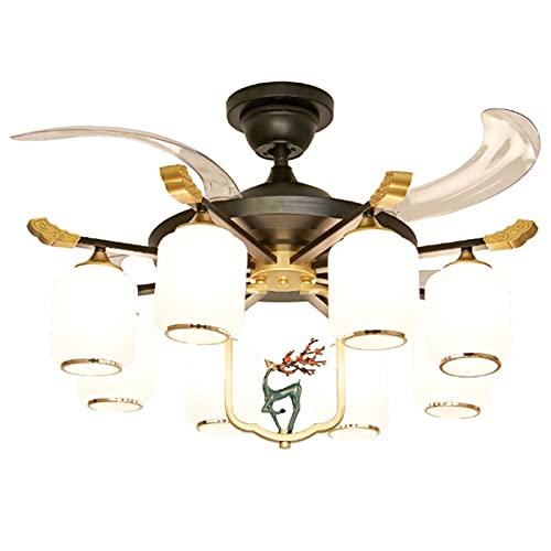 Lámparas de araña Luces de fans chinas, luces de ventilador de techo, atmosféricas, invisibles, silenciosas, comedor y ventilador de dormitorio. lamparas colgante