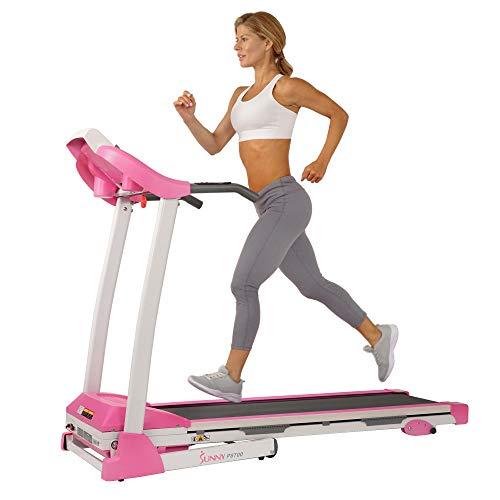 Sunny Health & Fitness P8700 Pink Treadmill, 62 L x 27 W x 50 H