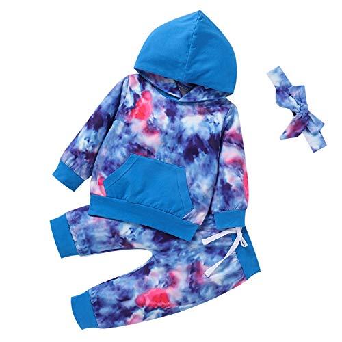 DERCLIVE 3 szt. ubranka dla niemowląt i dziewczynek batikowe stroje z kapturem + spodnie + opaska na głowę