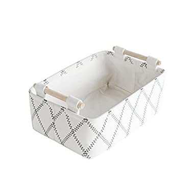 CutieUnion Decorative Collapsible Rectangular Fabric Storage Bin Organizer Basket with Wooden Handles for Clothes and Toy Storage(12.6x8.7x4.7 inch)