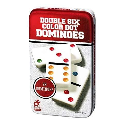 Domino Colorido Especial Slim para niños y Adultos. Edición Viaje con Caja de Metal para Mayor protección y Extra Fino