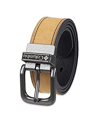 Columbia Reversible Leather Belt-Casual for Men's Jeans with Double Sided Strap, Light Brown/Dark Black, Medium (34-36)