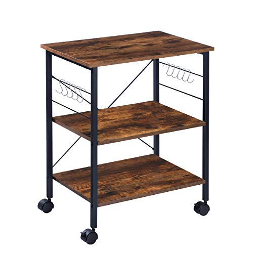 KINGSO Kitchen Microwave Cart 3-Tier Kitchen Utility Cart Coffee Cart Station Shelf Organizer Kitchen Cart on Wheels Vintage Rolling Bakers Rack with 10 Hooks for Living Room Decoration Michigan