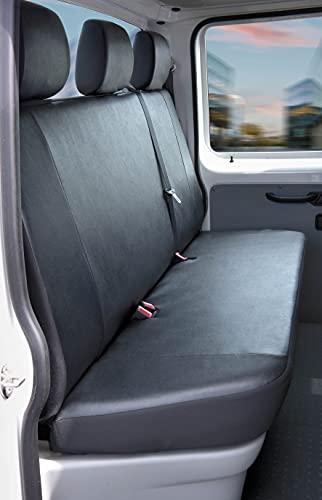 Walser Autoschonbezüge Transporter Passform, Polyester Sitzbezug anthrazit kompatibel mit VW T5 (Kunstleder, 3er Bank Pritsche)