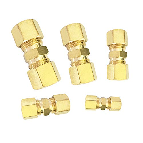 MroMax 1Pcs Tube Fitting Brass Compression Adapter 1//4 Tube x 10mm ID Male for Water Garden Irrigation System Connector Yellow