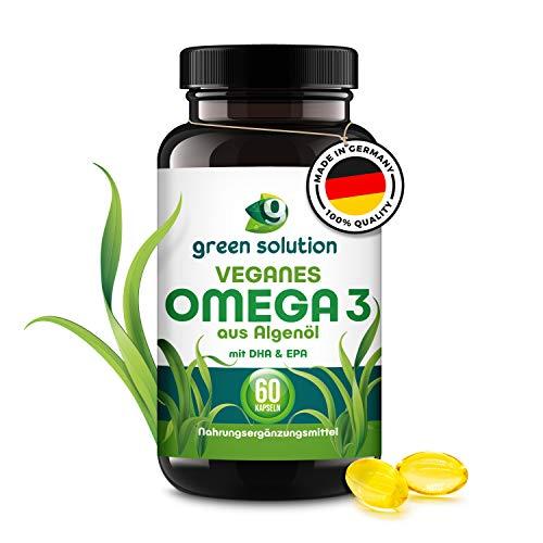 green solution® Omega 3 Vegan – [60] Kapseln omega 3 Algenöl Kapseln - EPA & DHA aus Algenöl – 100{63fabc9465e4fdfe455e70cbf85e24c6fb0b79285bc5253e7c5d27f2e2be4373} veganes – pflanzenbasiert & hochdosiert - Softkapseln mit Vitamin E - Tagesdosis