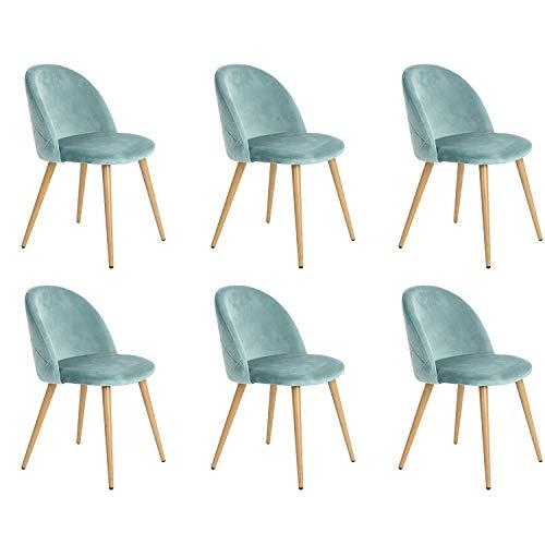 Velvet Dining Chairs Set von 2/4/6 Mid Century Modern Leisure Chairs Gepolsterte Stühle mit Metallbeinen für Schlafzimmer Wohnzimmer (Green 6)