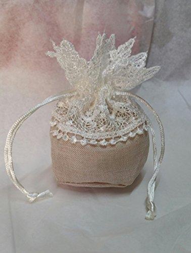 12 Pièces Sachet tissu beige avec dentelle pour mariage Taille 9 cm H. 12 cm C1511