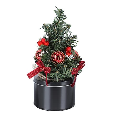 Housoutil Mała sztuczna choinka choinka choinkowa w doniczce blat mini choinka z podstawą świąteczne ozdoby stołu dekoracja kolacji