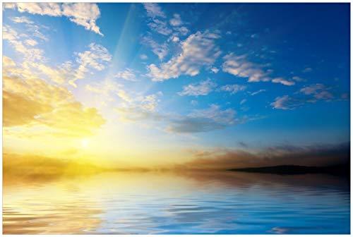 Wallario Glasbild Sonnenuntergang über dem Meer I - 60 x 90 cm in Premium-Qualität: Brillante Farben, freischwebende Optik