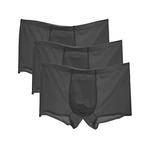 HuntDream Herren Sexy Slips Ice Silk Bequeme Unterwäsche Pack von 3 US-Größe S/Asian L, schwarz