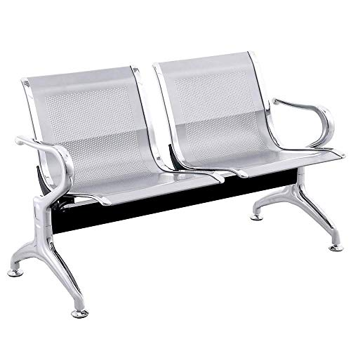 PrimeMatik - Bancada para sala de espera con sillas ergonómicas plateadas de 2 plazas 🔥