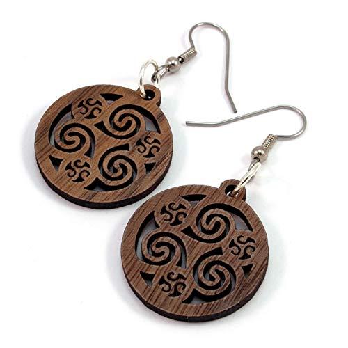 Celtic Hoop Earrings made of Sustainable Walnut Wood - Small (1') - Hook Dangle Drop Earrings