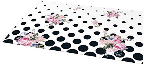 Clairefontaine Chantal Thomass 115339 C bureau-onderlegger 60 x 40 cm bodem wit met rond zwart/roze bloemen/groen mat gelamineerd/nagellak selectief
