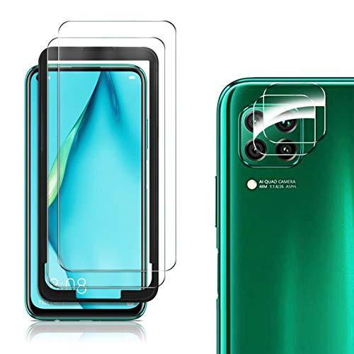 MSOVA Schutzfolie kompatibel mit Huawei p40 lite Panzerglas/Kamera Panzerglas, 2 Stück 9H Hartglas Bildschirmfolie Blasenfrei kompatibel mit Huawei p40 lite Schutzfolie. Klar