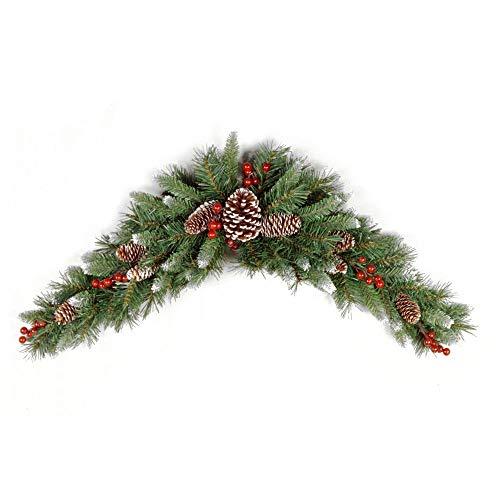 artplants.de Kunst Tannen Türbogen Marlies, crossdoor, schwer brennbar, beschneit, 90cm - Tannenbogen Weihnachten
