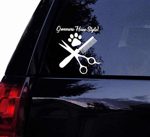 CELYCASY - Calcomanía de vinilo para pared de ventana de coche, diseño de perro peluquero