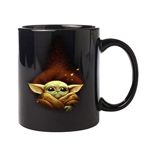 Taza Yoda de calidad premium de Star Wars Mandalorian divertida taza de café de bebé Yoda regalos taza para fans de Star Wars (negro)