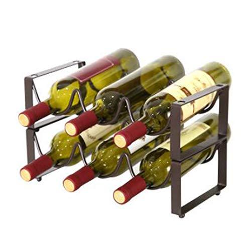 Estante Para Vino De Metal Con Capacidad Para 3 Botellas,2 Botelleros Apilables,Mueble Vinoteca Para Botellas De Vino U Otras Bebidas