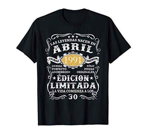 Leyendas Nacido En Abril 1991 Hombre 30 Años Cumpleaños Camiseta
