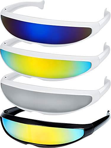 4 Pairs Futuristic Narrow Cyclops Sunglasses Robot Space Costume Sunglasses Futuristic Color Mirrored Lens Sunglasses for Adults Kids (3 White 1 Black Frame)