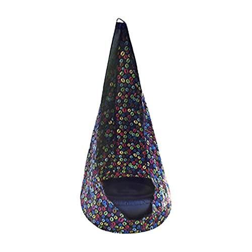 Kbsin212 Cueva colgante para niños, pod columpio exterior, asiento colgante para la habitación de los niños, con cojín inflable, gancho, bomba de aire y cuerdas, de algodón, para interior y exterior