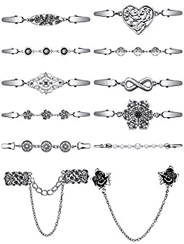 12 Pieces Vintage Sweater Shawl Clips Collar Chain Clips Retro Cardigan Collar Dresses Clips Brooch Pins for Women Girls  Retro Style